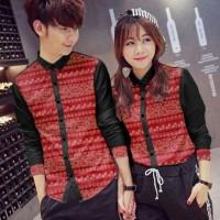 Kemeja couple katun jepang corak batik pjg kcg krh (merah) M