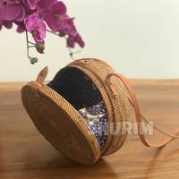 Jual Bohemian bag 20cm/kancing katup/clip/brown/tas rotan/ate/raisa/bali Murah