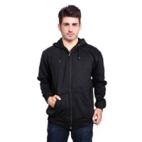 Jaket Sweater Polos Hoodie Zipper Hitam Super