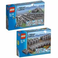 LEGO 7499 7895 Flexible Straight plus Switching Tracks City Rail COM