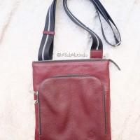 AUTHENTIC Bonia Brown Leather Messenger Bag for Men - Tas Bonia Pria