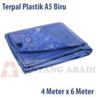 Terpal Plastik Jadi 4 x 6 Mtr Biru Tipe A5 u/ Tutup Truk, Warung Tenda