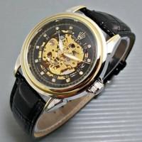 Jam Tangan Rolex Automatic / Otomatis Combi Gold-Black Kulit Hitam
