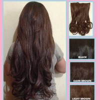 Hairclip Big Layer , Hair clip 3 layer rambut sambung curly wave lurus