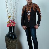 Baju Batik Premium Kemeja Pria Bunga Keris Hitam Katun Cap Malam Baru