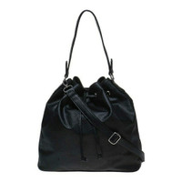 Tas wanita - Zada Drawstring Shoulder Bag - Black