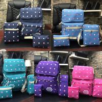 tas ransel backpack motif polkadot bintang 3in1 murah