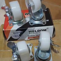 "roda nylon 2"" rem WELDOM caster etalase koper aluminium harga per PCS"