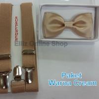 Jual Paket Suspender/Bretel/Tali Jojon 2,5cm + Dasi Kupu Dewasa Murah