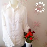 Kemeja blus wanita Putih zara lembut kantongsaku 1 JUMBO T1310