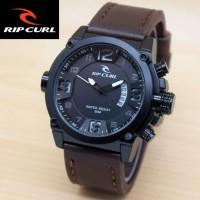 Jual jam tangan RIPCURL PRIA HITAM TALI KULIT TANGGAL Murah