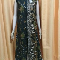 Jual gamis sogan / batik sogan / gamis long cardigan / long cardigan batik Murah