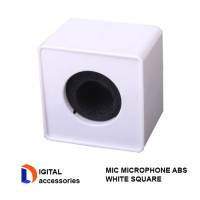 White ABS Mic Microphone Interview Square Cube Logo Flag Station
