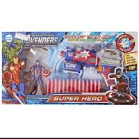 Pistol Eva Nerf Avenger Captain America Soft Bullet Blaster Senapan