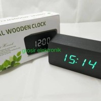 Jam Meja Digital Led Weker / Digital Wood Alarm Clock 012 black green