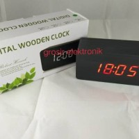 Jam Meja Digital Led Weker / Digital Wood Alarm Clock 012 black red