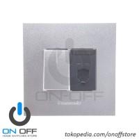 Saklar Engkel Lampu dan Outlet Telepon Panasonic Style Silver