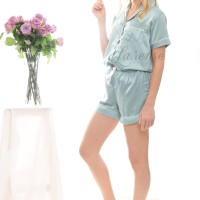 satin Short Pants Piyama Ash Green  / Baju tidur satin sutra wanita
