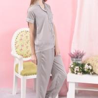 Satin long Pants Piyama Grey  / Baju tidur satin sutra wanita dewasa