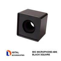 Black ABS Mic Microphone Interview Square Cube Logo Flag Station
