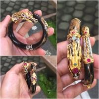 Gelang Uli (akar Bahar) motif Naga Cina silver gold pleted