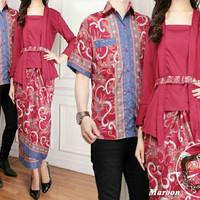 couple kebaya muslim ziana kutu baru + kemeja batik + rok lilit