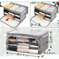 Foldable Storage Box 3 Window Cloth Organizer Pakaian 3 Sekat