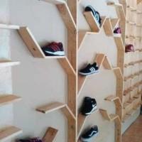 Rak Sepatu Pohon Unik untuk Rumah Etalase Sepatu Bahan Full Kayu