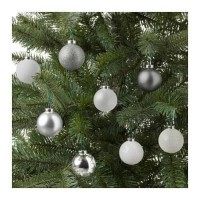 IKEA VINTER 2017 Bauble Dekorasi Pohon Natal - Perak- putih