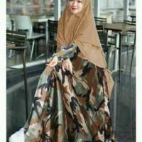 hot deal model baju muslim gamis terbaru dan modern ARMY SYARI BROWN