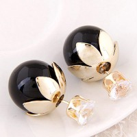 Anting Korea Dior Flower Crown Black Cantik Lucu