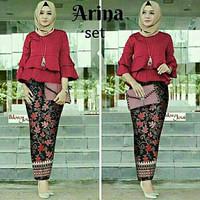 Baju Muslim Remaja Set Kebaya Batik Modern Arina Paya Set Maroon Murah