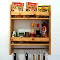 Rak bumbu dapur - spice rack - Rak dinding - rustic rack - rak kayu