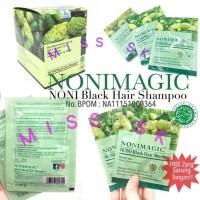 1 Box Isi 20 Sachet New Nonimagic Black Hair Shampo Bpom
