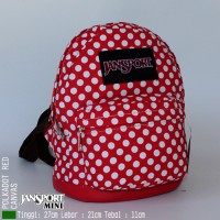 Tas Jansport Ransel Wanita Jansport Mini Polka dot Merah GET1440