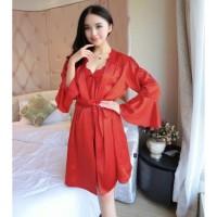 PREMIUM LARIS Bajutidur Wanita Kimono Lengan Panjang Baju Tidur Seser
