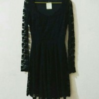 dress brokat lace long sleeve black