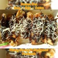 Pisang Goreng Banana Box Susu + 2topping: Keju, Ovaltine, Oreo, Coklat
