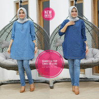 baju wanita blouse tunik sharella jeans remaja muslim unik modern lucu