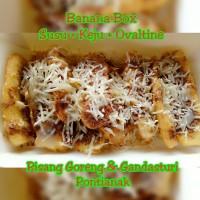 Pisang Goreng Banana Box Susu + 1topping: Keju, Ovaltine, Oreo, Coklat