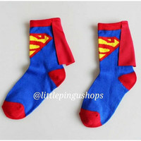 Superman Justice League Socks with cape / Kaos Kaki Sayap Anak Lucu