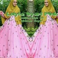 DeltaRN Lolita Syari Pink Busana Muslim Pesta Modern Gamis Syar i Kek