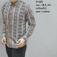 New Baju Formal Motif Batik Modern-Model Slimfit Lengan Panjang-Keren