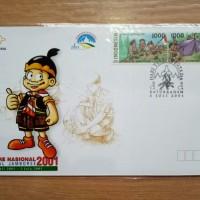 Sampul Hari Pertama Jambore Nasional, 2001 w/ Stamp 2 pcs @ Rp.1.000,-