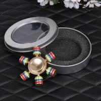 (Dijamin) Brass Rainbow Fidget Spinner Finger Hexagonal with Metal Box