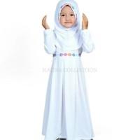 Baju muslim/gamis anak perempuan warna putih untuk manasik