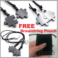 Kalung Liontin Couple Pasangan Necklace Puzzle Stainless Steel Pendant