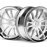 HPI SPRINT 2 DRIFT SPORT NISSAN 3284 WORK XSA 02C WHEEL 26MM CHROME/WH
