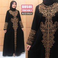 Jual Gamis Abaya Hitam Jumbo Busui Friendly exclusive , Gamis Pesta Bordir Murah