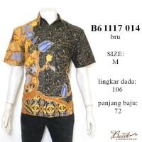 hem batik dasar hitam B61117014BRU/kemeja kantoran/baju batik pria